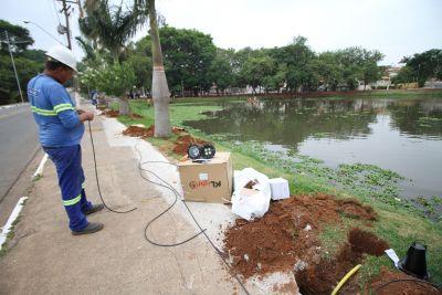 Lagoa do Jd. Amanda recebe novo sistema de iluminação