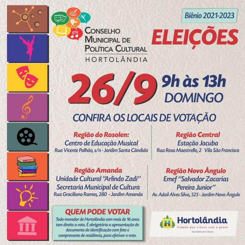 Eleição para Conselho Municipal de Políticas Culturais é neste domingo (26/09)