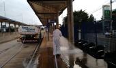 Pontos e terminais de ônibus também passam por descontaminação